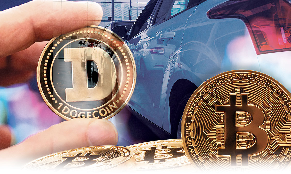 Cryptocurrencies such as Dogecoin and Bitcoin are still not widely used by car buyers, but that could change, experts say.