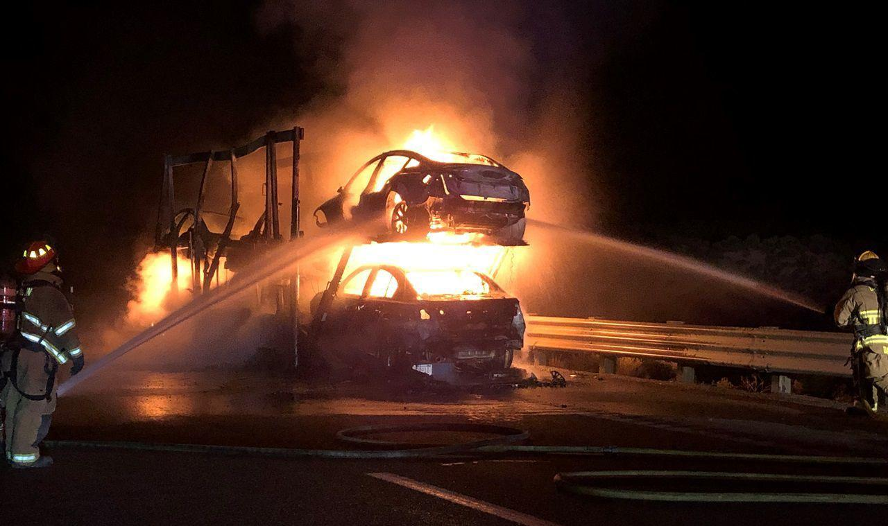 Tesla Vehicles Destroyed As Truck Carrier Catches Fire In Nevada
