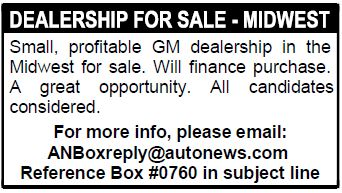 DEALERSHIP FOR SALE - MIDWEST