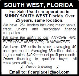 For Sale Used Car Operation in Sunny South West Florida