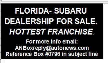 FLORIDA - SUBARU DEALERSHIP FOR SALE