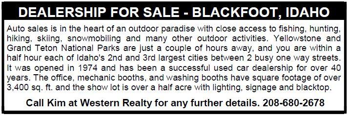 DEALERSHIP FOR SALE - BLACKFOOT, IDAHO