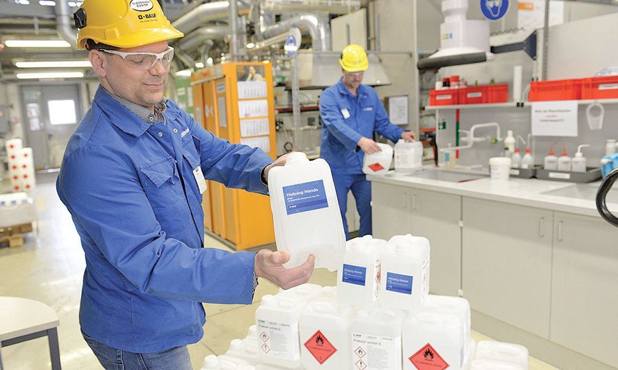 Supplier BASF made thousands of gallons of hand sanitizer.