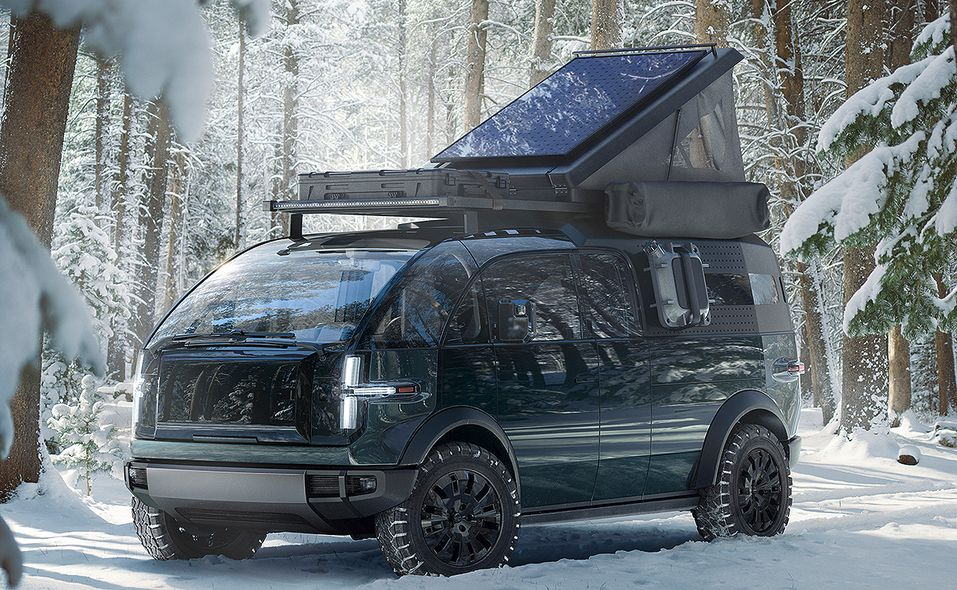 Canoo pickup truck with camping accesories