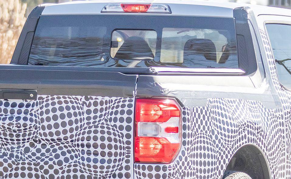 Ford Maverick pickup prototype spy photo bed