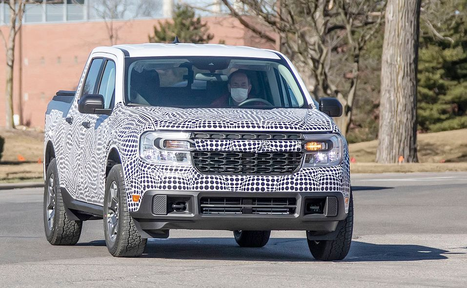 Ford Maverick pickup prototype spy photo front
