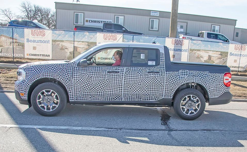 Ford Maverick pickup prototype spy photo side