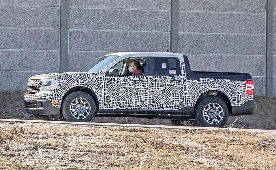 Ford Maverick pickup prototype spy photo front and side