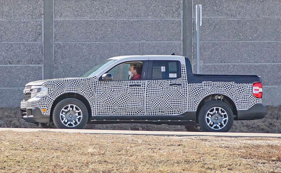 Ford Maverick pickup prototype spy photo entire side