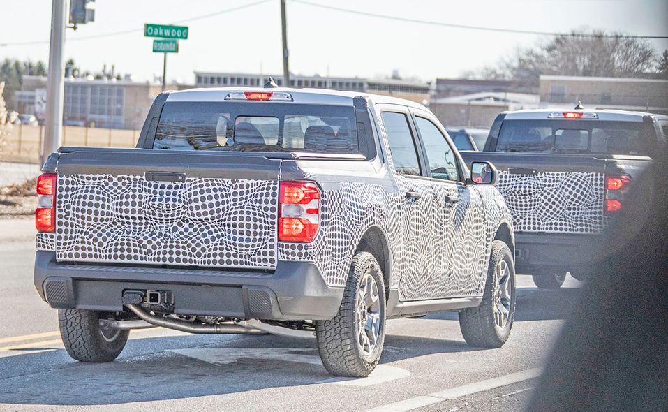 Ford Maverick pickup prototype spy photo rear