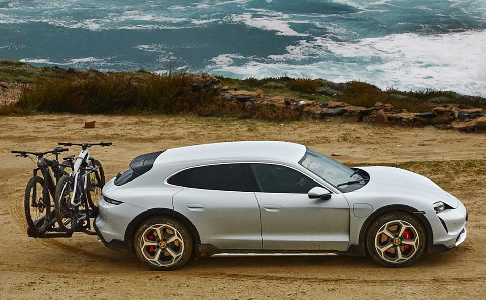 2021 Porsche Taycan Cross Turismo side with bike carrier