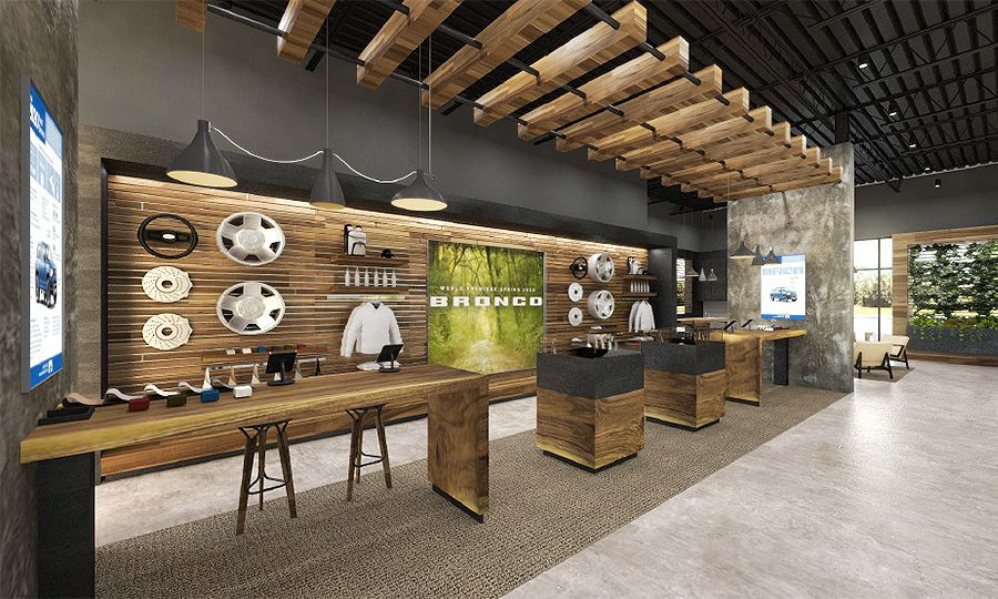 Renderings of the Bronco store include an accessories wall to display add-ons that can help boost dealership profits.