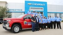 Bergstrom Chevrolet-Buick-GMC-Cadillac of Oshkosh donates a new truck to Habitat for Humanity.