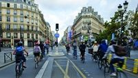 During the pandemic, Paris' Rue de Rivoli was converted to accommodate only bicycles and public buses.