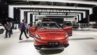 Xpeng electric car displayed at an auto show