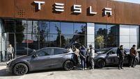Tesla storefront wintertime