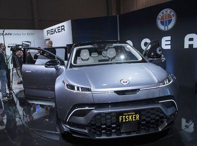 The Fisker Ocean electric vehicle on display