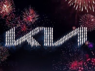 Kia's new logo displayed during a pyrotechnical show in Incheon, South Korea