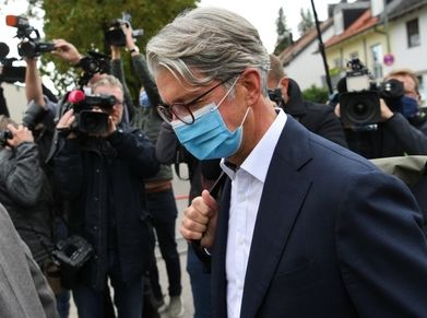 Former Audi CEO Rupert Stadler arrives on the first day of his trial in Munich