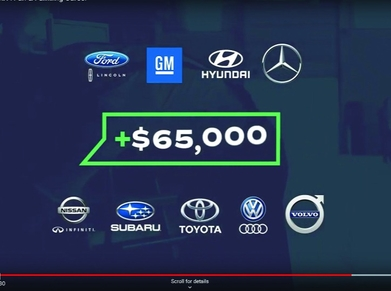 This image from a 2.5-minute video on goprojectshift.com shows the nine automaker partners in the Automotive Technician Collaborative and the annual pay that a technician can expect to earn after five years at a dealership.