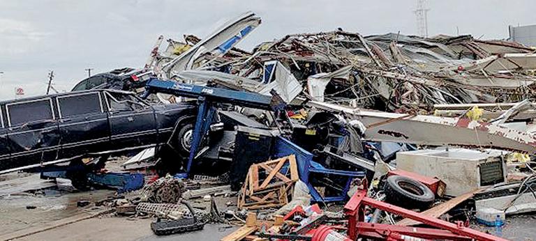 A tornado struck Riley Chevrolet in Jefferson City, Mo., in May.