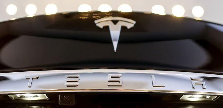 Tesla logo on car trunk