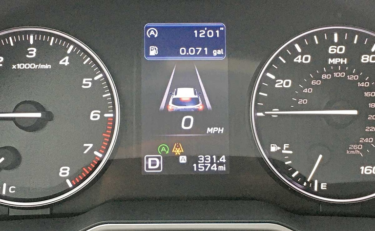 Subaru display shows fuel savings from stop-start