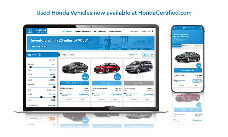 What's new on Honda's website? Older cars