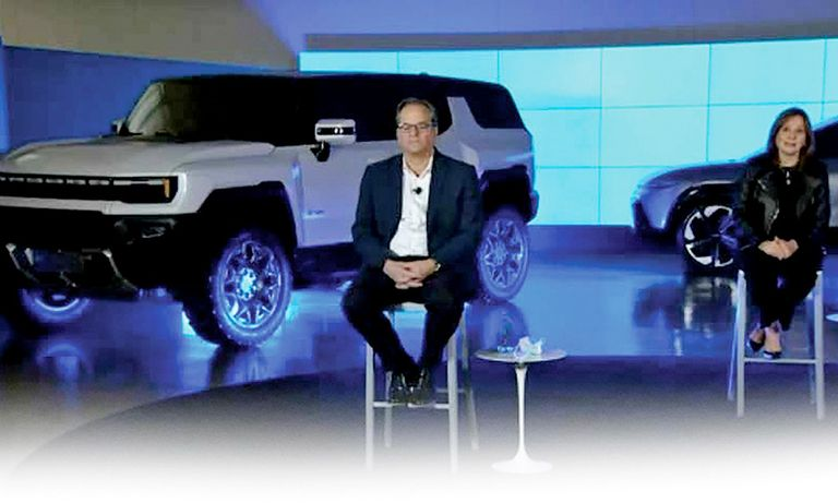The electric Hummer SUV took center stage with Doug Parks, GM's global product development chief, left, and CEO Mary Barra.