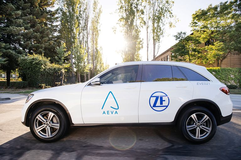 Car with Aeva and ZF logos