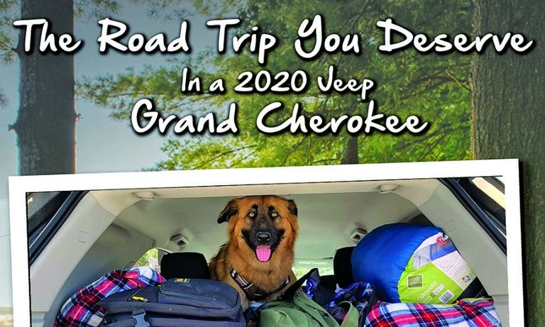 Travel was a trending theme across multiple platforms, so Nielsen Dodge-Chrysler-Jeep-Ram created a Jeep Grand Cherokee campaign about road trips, left. That was followed by messaging focused on fall activities.