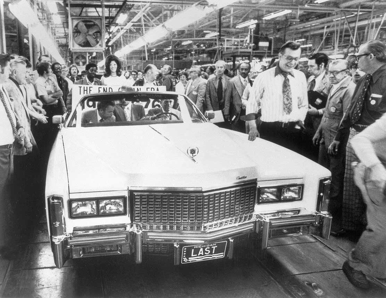 The last American convertible of an era, a Cadillac, comes off the line in 1976