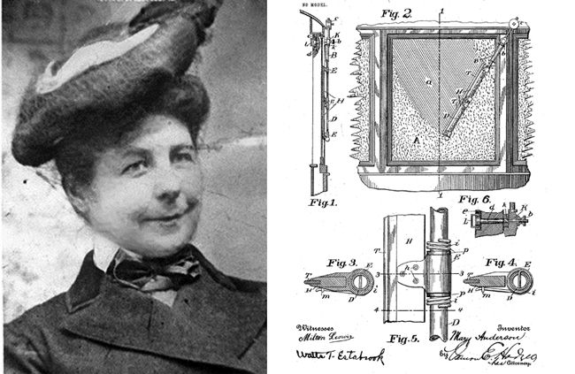Mary Anderson awarded patent for windshield wiper