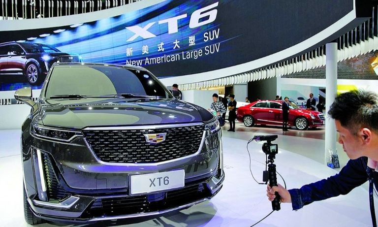 A Cadillac XT6 is presented during the Shanghai auto show media day last year.