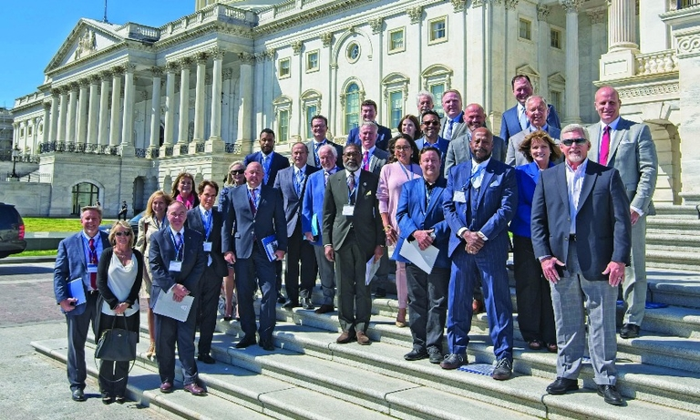 """AIADA members prepare to lobby legislators on Capitol Hill for free trade in April 2019 as part of a """"fly-in"""" event."""