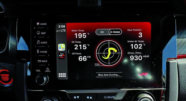 The LogR app features access to the Type R's onboard computer.