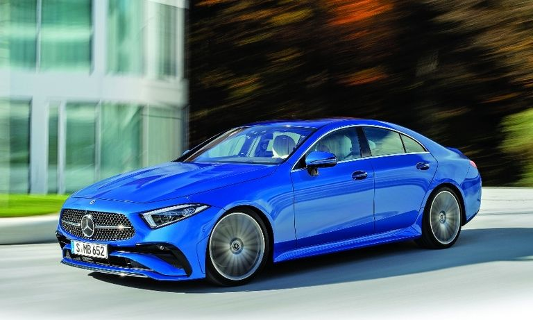 The 2022 Mercedes-Benz CLS gets a new grille and bumper. The midsize coupe may be vulnerable as the brand plans to cut car models.