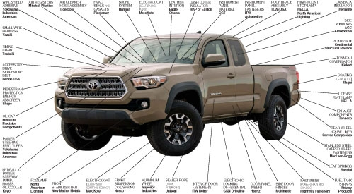 Suppliers to the 2016 Toyota Tacoma