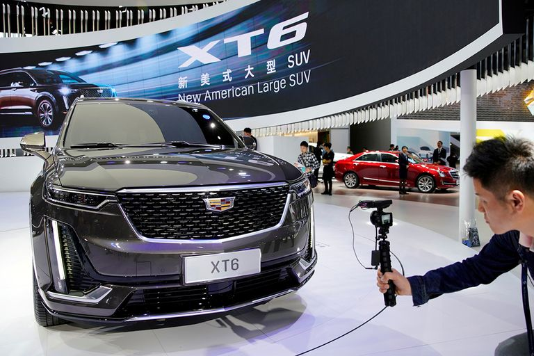 A Cadillac XT6 is presented during the media day for Shanghai auto show in Shanghai on April 16, 2019