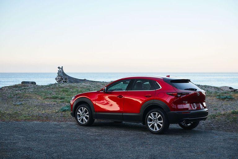 The Mazda CX-30 in red