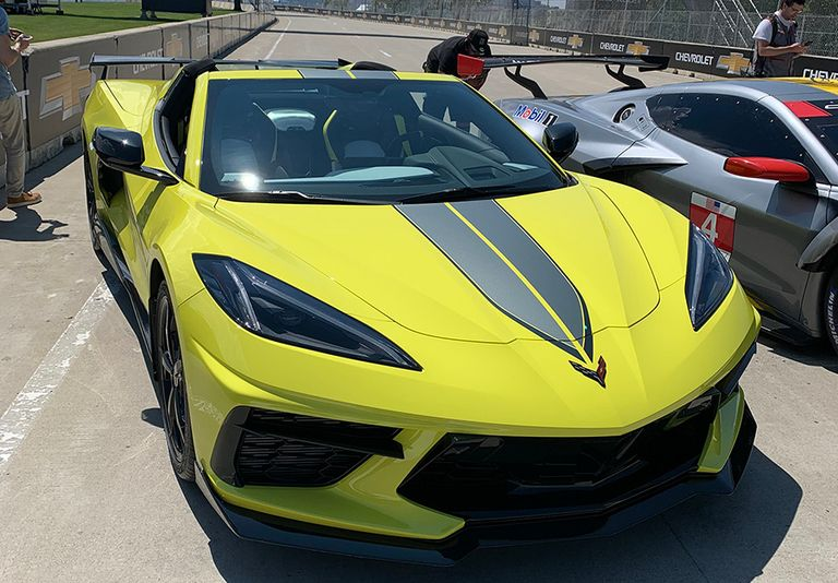 The special edition includes Corvette Racing-themed graphics, including a No. 3 on the back of the yellow edition and a No. 4 on the gray edition.