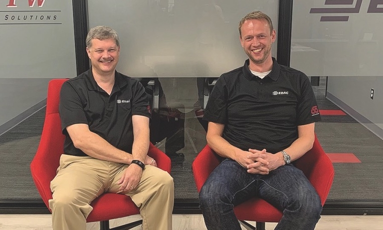 Phil Stevens, left, president of CKGP, and Jan Schulte, CEO of EDAG USA, at their new offices in Troy, Mich.