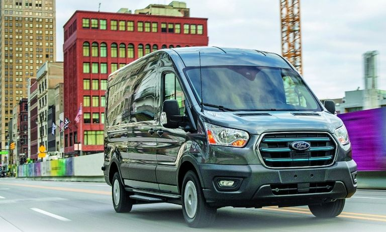 Ford will offer a number of charging options for the E-Transit, including at-home charging, shown below.