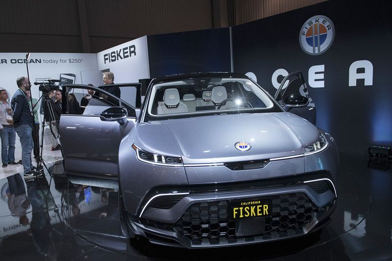 The Fisker Ocean electric vehicle on display