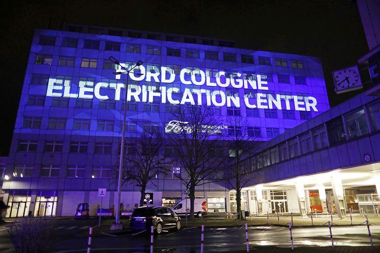 A projection on the facade Ford's European headquarters following the company's announcement to build future electric cars in Cologne, Germany.