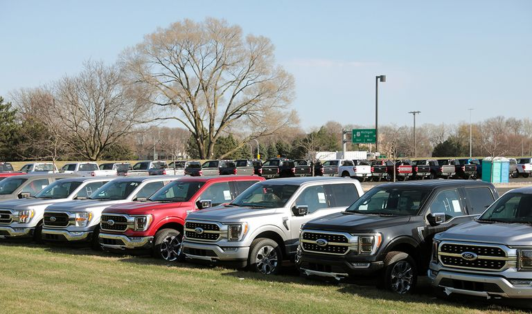 Newly manufactured Ford F-150 pickup trucks are seen waiting for missing parts in Dearborn, Michigan