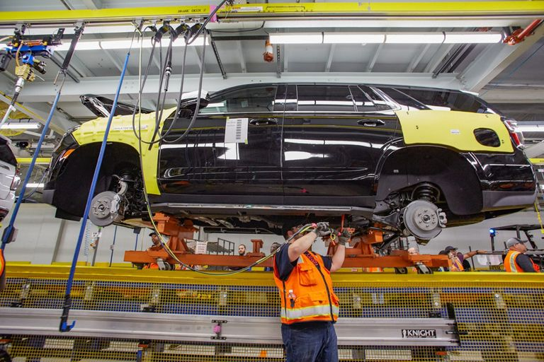 Vehicle assembly at GM's plant in Arlington, Texas