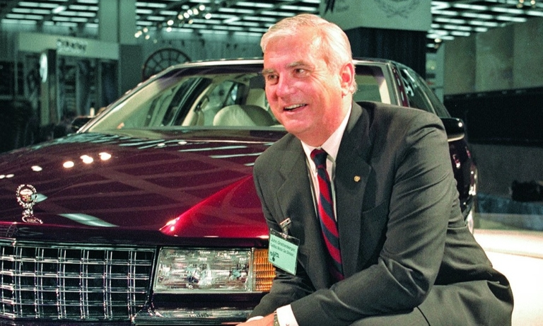 John Grettenberger with the 1992 Cadillac Seville, which resonated with younger buyers.