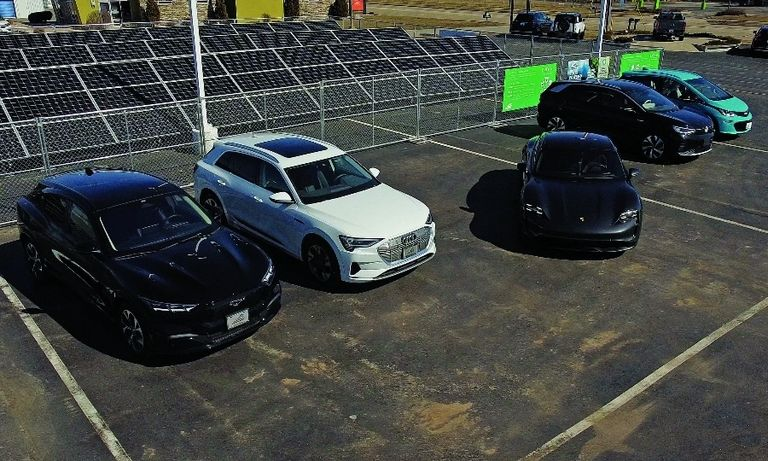 The solar field at Bergstrom Automotive's dealership campus in Neenah, Wis., is linked to an energy-storage system as part of the microgrid.