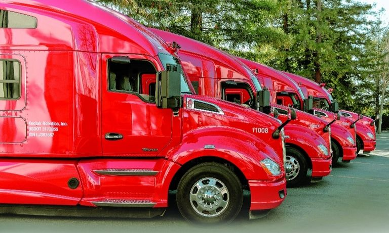 """Kodiak has a fleet of 10 trucks but limits the number of on-road test miles they log, saying it is """"a sign of our commitment to safety."""""""